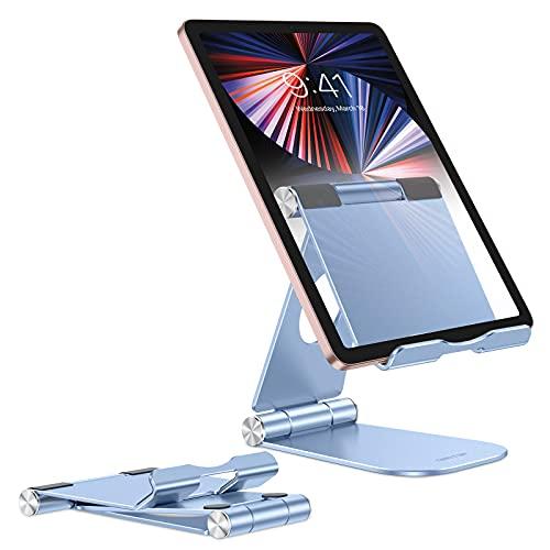 OMOTON Ajustable y Plegable Soporte para Tablet, Soporte Base Móvil, Soporte Multiángulo Aluminio para 2020 iPad Pro 12.9, 10.5, 9.7, iPad Mini 3 4 5, iPad Air, Samsung, iPhone, Otras Tablets
