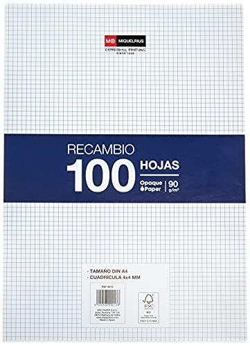 Miquelrius - Recambio 100 Hojas, Cuadrícula de 4 mm Sin Margen, Tamaño A4, Sin Taladros, Papel de 90 g