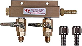 2 Way CO2 Manifold with Integrated Check Valves and MFL Fittings Bundle by Kegconnection,Copper