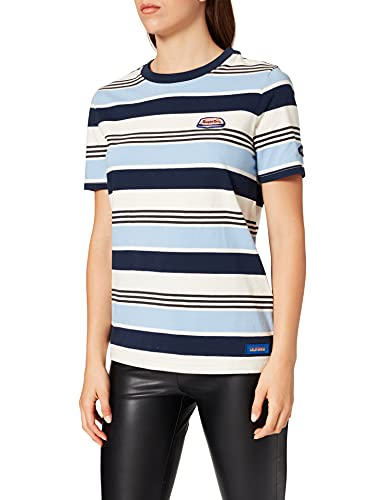 Superdry Womens W6010963A T-Shirt, Cali Blue Stripe, L
