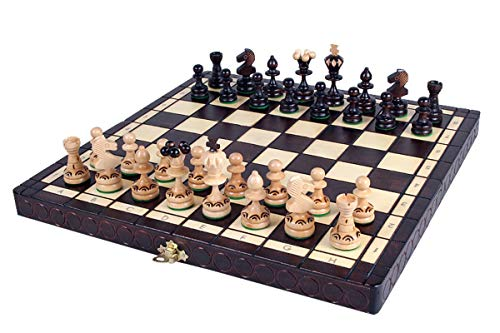 KADAX Schachspiel aus Holz mit Figuren, Schach für Kinder, Anfänger, Erwachsene, klappbares und hochwertiges Schachbrett, Schachkassette für Haus, Reise, einfach zu tragen (Feldgröße: 36 x 36 cm)