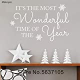 BJWQTY Adhesivos de Pared navideños Home Rooms Festival Adhesivos de Pared Frases de Feliz Navidad Vinilo de Tiempo más Maravilloso