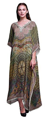 Phagun Mandala geometrico señoras Tallas Grandes Kaftan Ropa de Verano Encubrimiento Kimono caftán-XL-3X