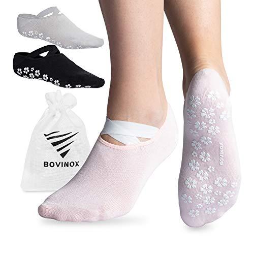 OXENSPORT rutschfeste Socken perfekt für Pilates, Barre, Piloxing, Jumping & Ballet, Abs Yoga Socken Damen, Noppen mit extra Grip (Rosa - 1 Paar, EU 35-38)