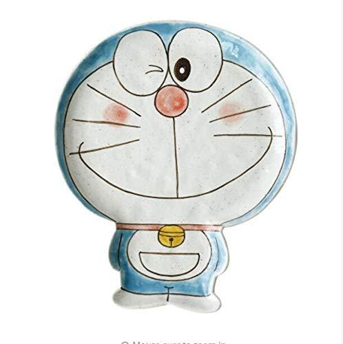 Yqs Vajilla Doraemon Gato Plato Plato Microondas Bandeja de Frutas japane Precioso Placa de cerámica de Dibujos Animados Vajilla de Porcelana de niños (Color : B)