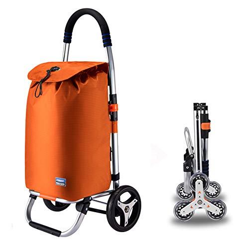 Einkaufstrolley XXL mit großen Rädern in - extra großer Einkaufsroller Einkaufshilfe 50kg belastbar,Orange,2rounds