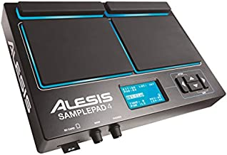 Alesis Sample Pad 4   Compact Percussion and Sample Triggering Instrument with 4 Velocity Sensitive Pads, 25 Drum Sounds and SD/SDHC Card Slot