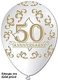 BWS-100 Globos con impresión 50° aniversario, color blanco/oro, diámetro 30 cm, RR12PS15_RSP1039
