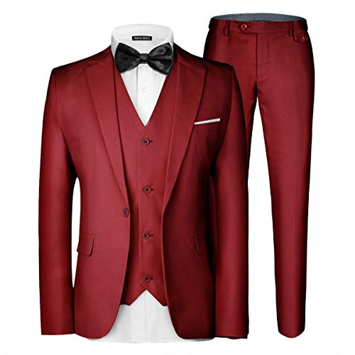 MAGE MALE Men's 3 Pieces Suit Elegant Solid One Button Slim Fit Single Breasted Party Blazer Vest Pants Set Red