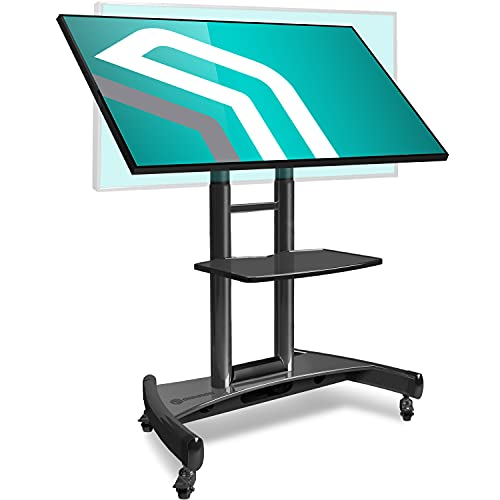 """ONKRON Tilting Mobile TV Stand for 32"""" to 65 Inch TVs & Interactive Touch Panels Rolling TV Cart on Wheels with Shelf Black TS1330"""