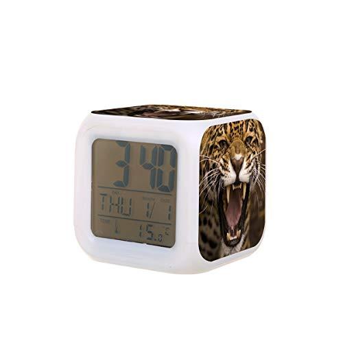 Animal Jaguar - Reloj despertador eléctrico para dormir con 7 colores de luces