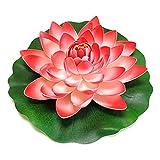 YOURPAI Lámpara artificial de la noche de la flor del loto, almohadillas de agua realistas de la flor del loto artificial para el acuario rojo