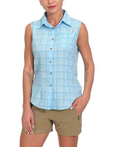 Little Donkey Andy Women's Quick-Dry Sleeveless Shirt, UPF 50 Sun Protection Plaid Shirts for Hiking Travel Fishing Light Blue Size M