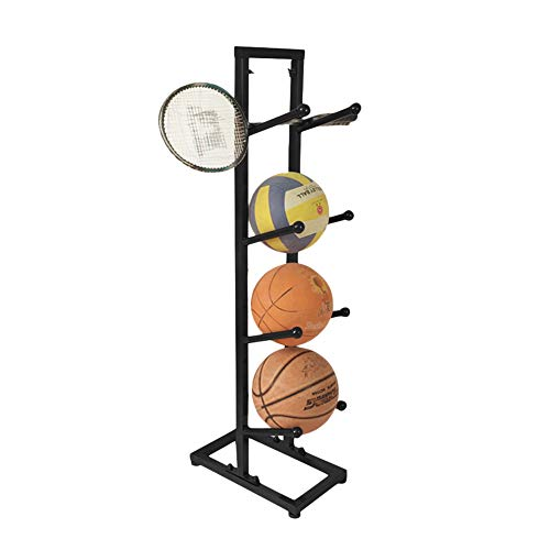 Fitlyiee Four-Layer Multipurpose Basketball Organizer Iron Ball Rack for Indoor Outdoor (Black)