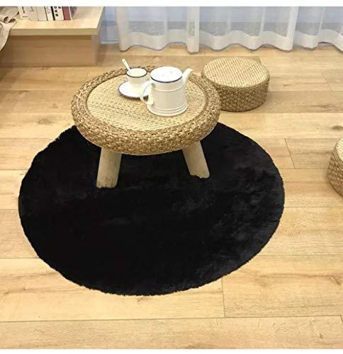 LCZMQRCLMZRQRond tapijt harig tapijt roze grijs zwart wit woonkamer salontafel deken slaapkamer bed mat computerkleed, zwart, 30cmx30cm