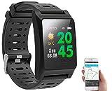 Newgen Medicals Sportuhren: Fitness-GPS-Smartwatch, Herzfrequenz-Anzeige, Farb-Display, App, IP68 (Fitnessuhr mit GPS)