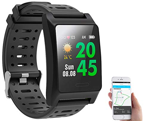 Newgen Medicals Sportuhren: Fitness-GPS-Smartwatch, Herzfrequenz-Anzeige, Farb-Display, App, IP68 (Smartuhren)
