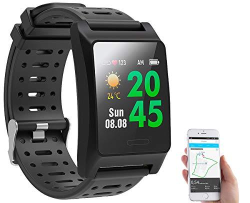 Newgen Medicals GPS Uhr: Fitness-GPS-Smartwatch, Herzfrequenz-Anzeige, Farb-Display, App, IP68 (Fitnessuhr mit GPS)