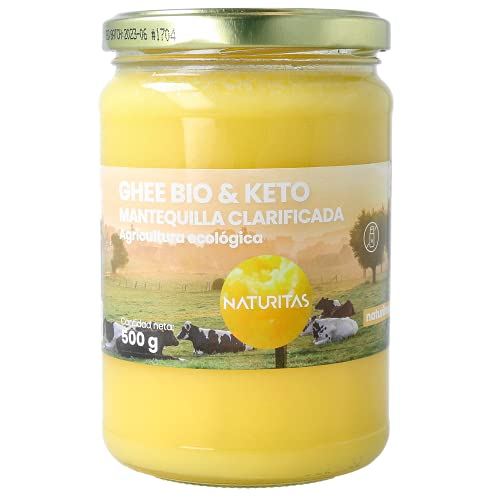 Naturitas - Ghee Beurre Clarifié Bio 500 ml - Agriculture écologique - Provient de vaches alimentées de repas écologiques - Ne contient pas d'hormones - Facilite la digestion - Protège le colon.