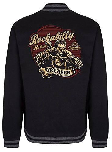 Gasoline Bandit Rockabilly College Baseball-Jacke: Rockabilly Rebel Größe L