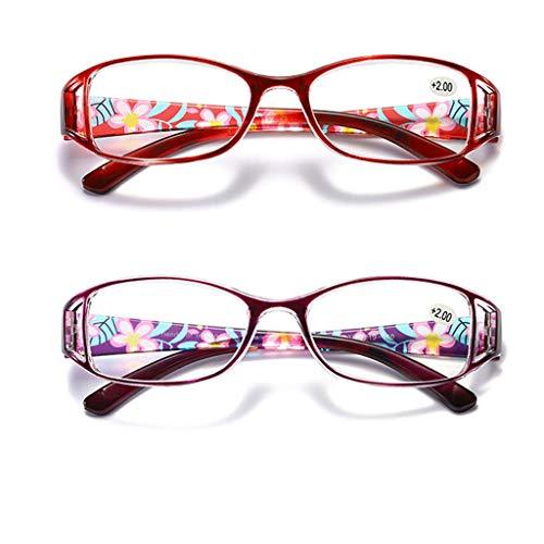 Leesbril LING AI DA MAI 2 paar blauwe lichtblokkerende bril Anti-glare UV digitale oogvermoeidheid, damesbedrukte bril