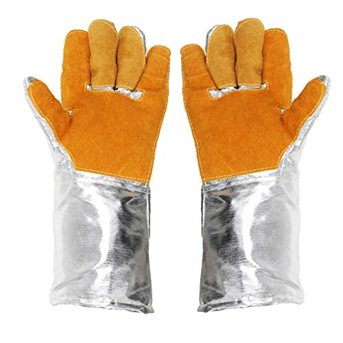 Peijco Isolatie industriële handschoenen, leer, aluminiumfolie handschoenen, Oven, Anti-scalding, smelten, slijtvastheid, hoge temperatuur, 500-1000 graden