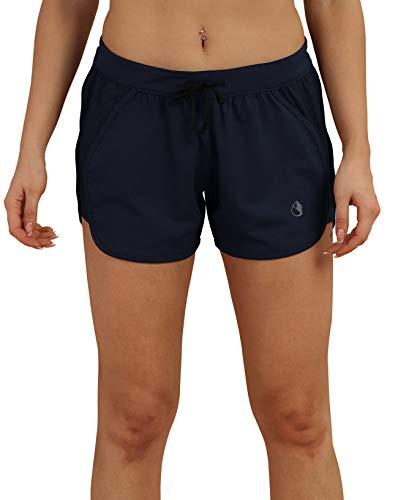 icyzone Damen Laufshorts Sport Hose Kurze Yoga Fitness Gym Shorts (M, Navy blau)