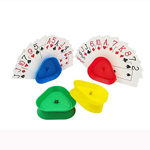 YH Triangle Shaped Hands-Free Poker Playing Card Rack Holder Set of 4