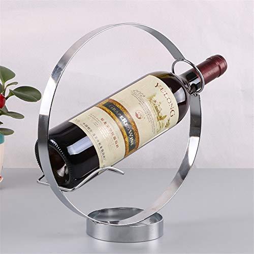 Creativo europeo retro Hierro forjado Ronda de estante del vino decoración del hogar de escritorio estante de la barra Bodega Bar Supplies Equipamiento del hogar botellero vino 552 ( Color : Sliver )