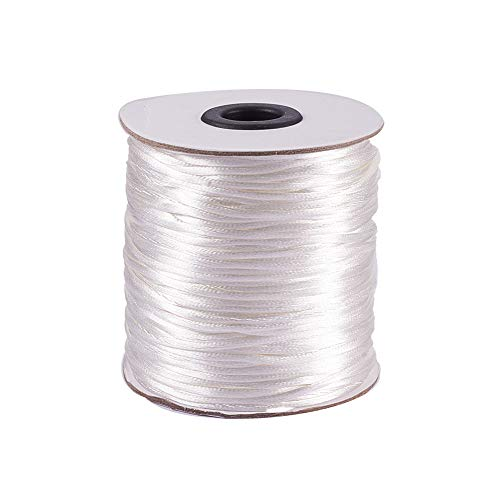 PandaHall Elite 1 Rolle 100 Yards 2mm Rattail Satin Nylon Trim Cord Chinesischer Knoten Kumihimo String Weiß