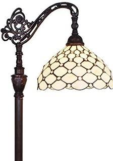 Amora Lighting Tiffany Style Floor Lamp Jeweled Adjustable White Cream Reading Standing Antique Vintage 62