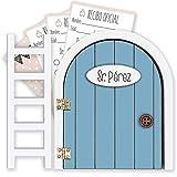 Puerta Ratoncito Pérez azul QUE SE ABRE con escalerita y recibos 100% artesanal