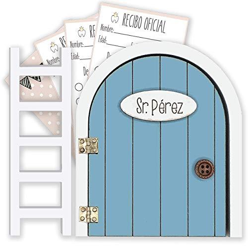 Puerta Ratoncito Pérez azul QUE SE ABRE con escalerita y recibos 100%...