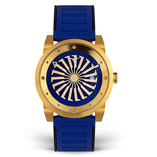 Zinvo Blade Volt Turbina Automatico Acero Oro Azul Fecha Silicona Hombre Reloj