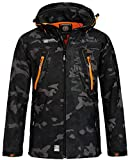 Geographical Norway Herren Softshell Outdoor Jacke Tambour/Taco/Techno abnehmbare Kapuze Black/orange L