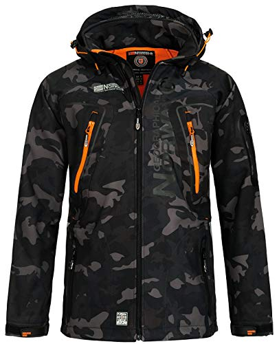 Geographical Norway Techno Softshelljacke Herren, Abnehmbare Kapuze S schwarz / orange