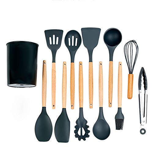 RYDZTMZ Silicone Kitchen Utensils with Wooden Handle, Cookware Spatula Set of 13 (Color : D)