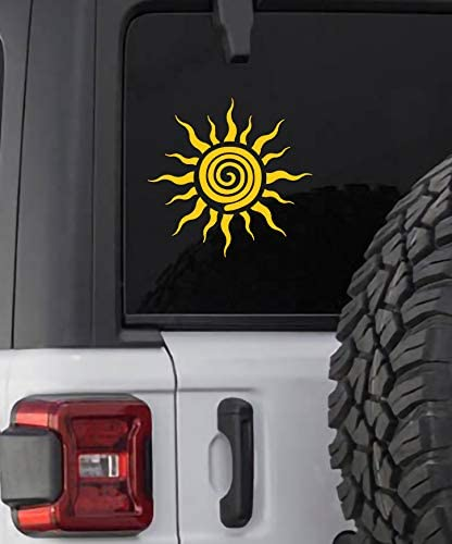 Tribal Sun Decal Vinyi Sticker Yellow Cars Trucks SUVs Vans Laptops Walls Glass Metal 5 25 X product image