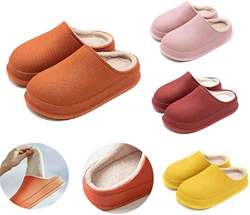 DBFISHINGREEL Pantuflas de invierno, cómodas, cálidas, de espuma viscoelástica, lavables, gruesas, impermeables, antideslizantes, color naranja, 42-43