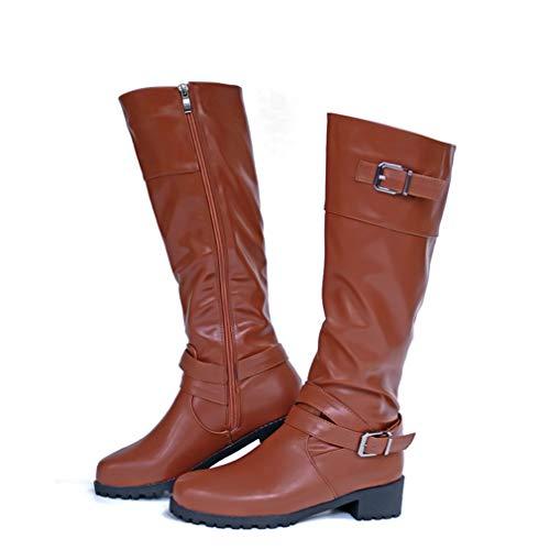 Stiefel Damen Leder Flach Reißverschluss Overknee Langschaft Stiefel Winter Reitstiefel Casual Elegante Schuhe Fashion Schwarz Khaki Grün Gr.35-43 LBR39