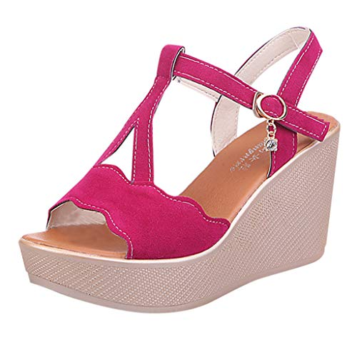 Meilleure Vente LuckyGirls Women Open Toe Breathable Beach Sandals Rome Buckle Strap Casual Wedges Shoes