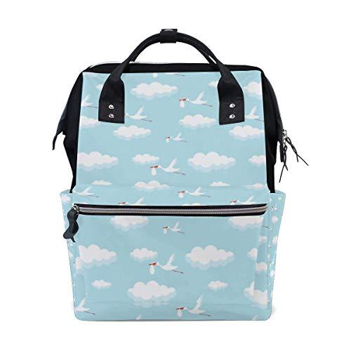 DJNGN Mochila con bolsa de pañales de cigüeñas divertidas, mochila de viaje multifunción de gran capacidad, bolsas de pañales, mochila de viaje para mamá para el cuidado del bebé