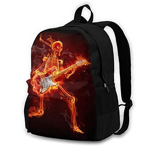 Skull Electric Flaming Gitarrentasche Rucksack Gym Dance Bag Rucksack für Wanderstrand Reisetaschen 12,6x16,5 Zoll