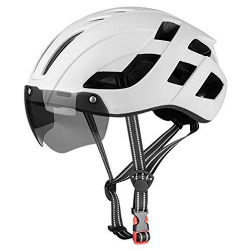 PUCHA Cycle Helmet, Casco de Bicicleta con luz Trasera LED Recargable, Gafas magnéticas extraíbles, Visera, Casco de Bicicleta de montaña Ajustable y Transpirable