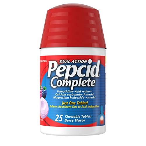 Pepcid Complete Acid Reducer  Antacid Chewable Tablets Heartburn Relief Berry 25 ct