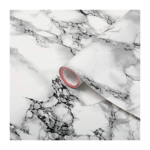 d-c-fix self Adhesive Peel and Stick Waterproof Marble White 26.5'' x 78.7' Film Thicker Than Contact Paper for Kitchen and bathrooms countertops cabinets
