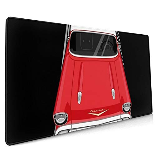 Chevrolet Bel Air 1957 - Rode en witte oversized muismat 40x90 Stick Figuur Stijl Oversized anti-slip Gaming Mouse Pad Voor Bureau Laptop PC randapparatuur