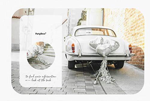 pd Hochzeit Deco Box CAR Dekoration Herz Luftballons und Dosen für Hochzeits Auto Silber