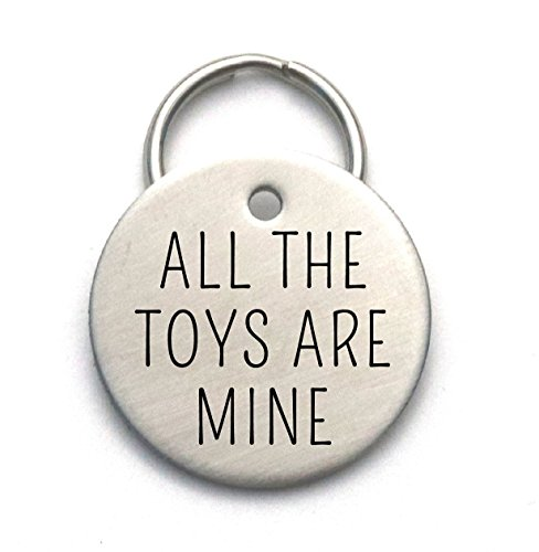 Funny Dog Tag - Cute Metal Pet ID - Strong, Engraved, Customized - All The Toys Are Mine