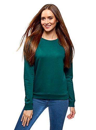 oodji Ultra Mujer Suéter Básica de Algodón, Verde, ES 38